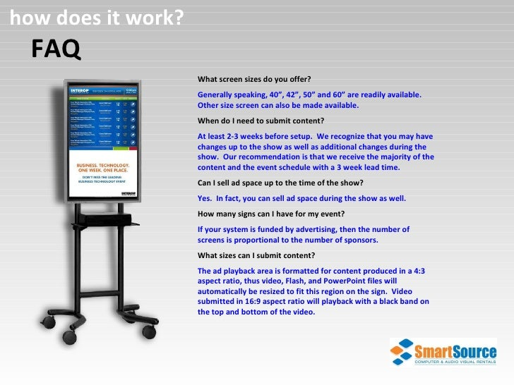 """FAQ how does it work? What screen sizes do you offer? Generally speaking, 40"""", 42"""", 50"""" and 60"""" are readily available.  Ot..."""