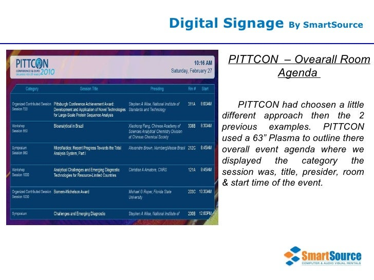 Digital Signage  By SmartSource PITTCON  – Ovearall Room Agenda  PITTCON had choosen a little different approach then the ...
