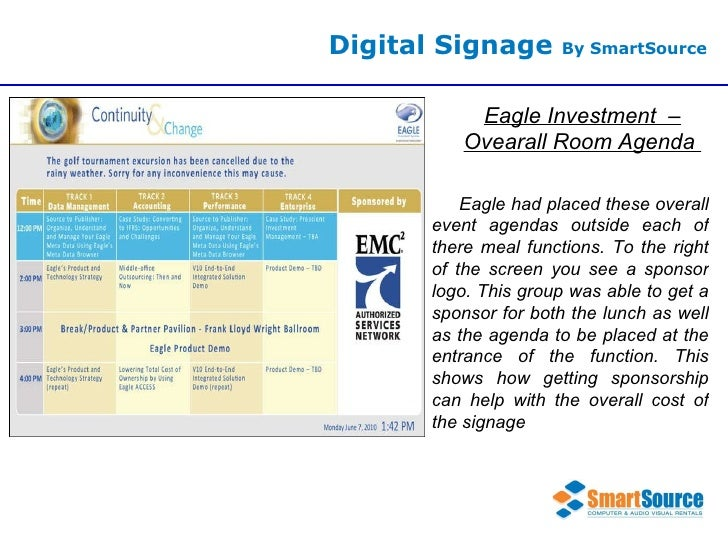 Digital Signage  By SmartSource Eagle Investment  – Ovearall Room Agenda  Eagle had placed these overall event agendas out...