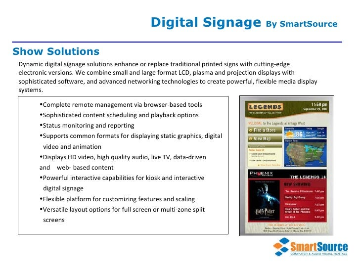 Dynamic digital signage solutions enhance or replace traditional printed signs with cutting-edge electronic versions. We c...