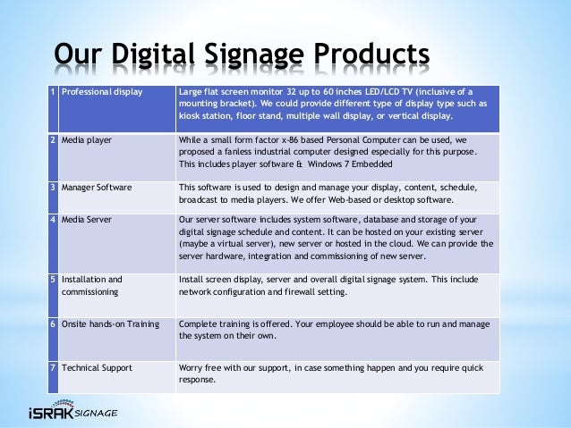 Our Digital Signage Products 1 Professional display Large flat screen monitor 32 up to 60 inches LED/LCD TV (inclusive of ...