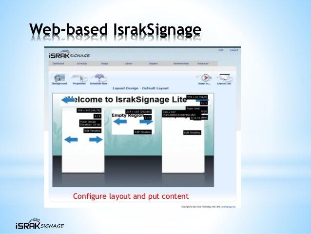 Web-based IsrakSignage Configure layout and put content
