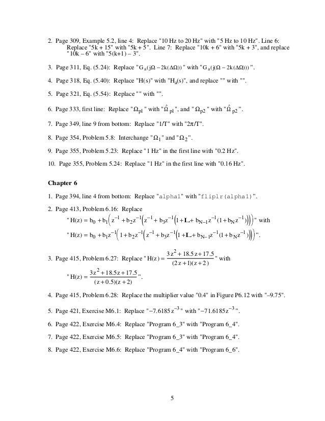 Digital signal processing,mitra,solution manual.