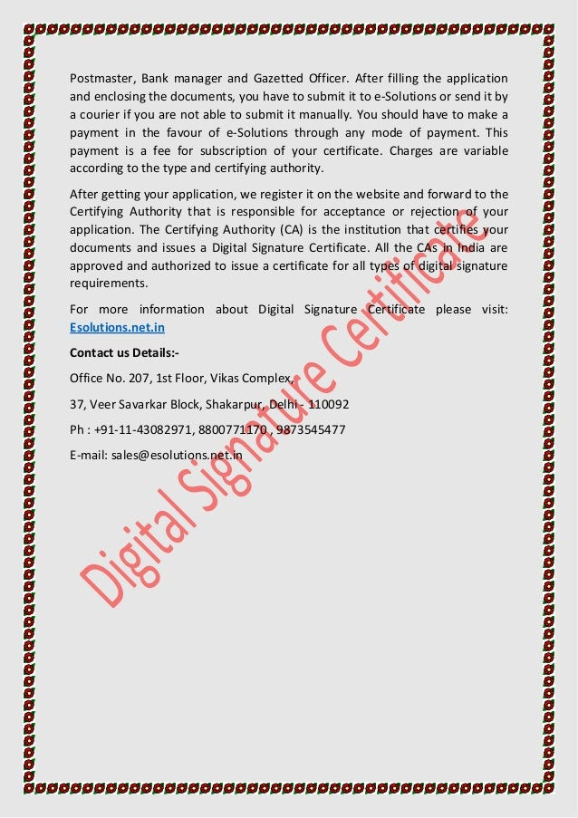 digital signature certificate for etendering