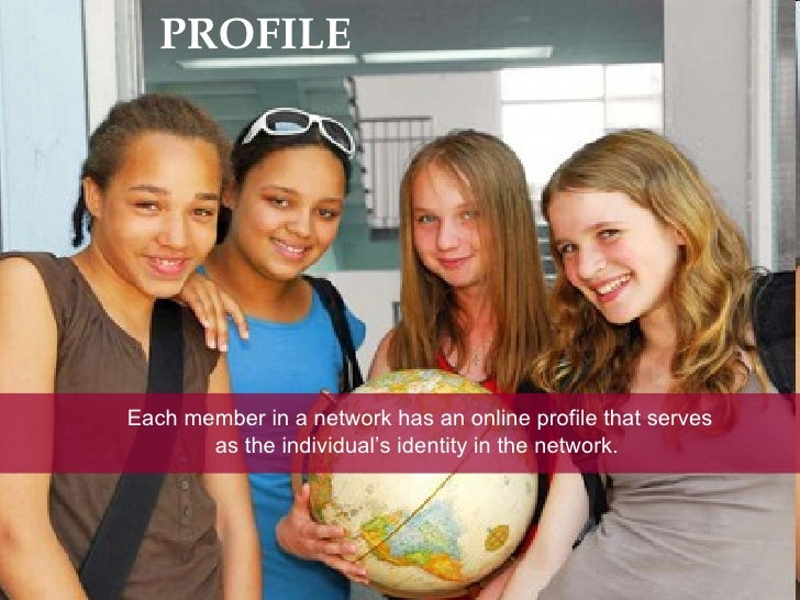 PROFILE Each member in a network has an online profile that serves as the individual's identity in the network.