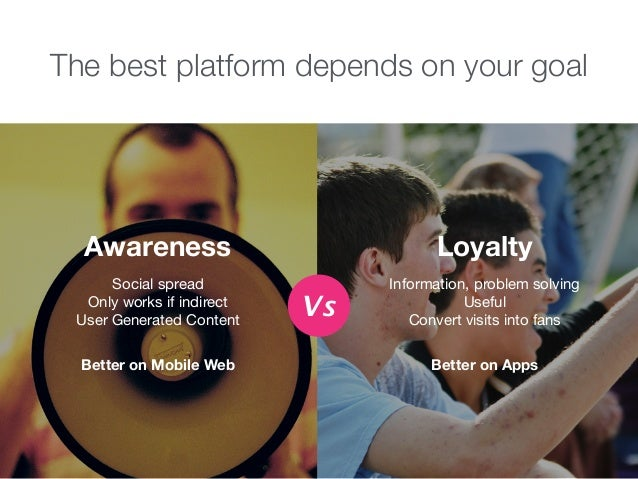 The best platform depends on your goal Social spread  Only works if indirect  User Generated Content Awareness Better on M...