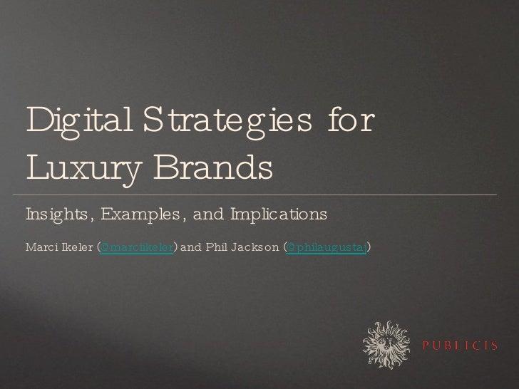 Digital strategies for luxury brands