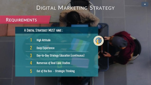 • 2 1 High Attitude A DIGITAL STRATEGIST MUST HAVE : 2 Deep Experience 3 Day-to-Day Strategy Education (continuous) 4 Nume...