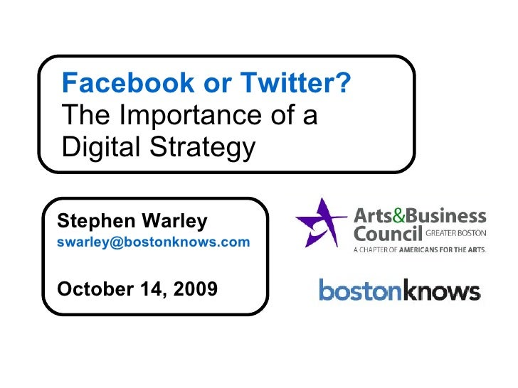 Facebook or Twitter? The Importance of a  Digital Strategy Stephen Warley [email_address] October 14, 2009