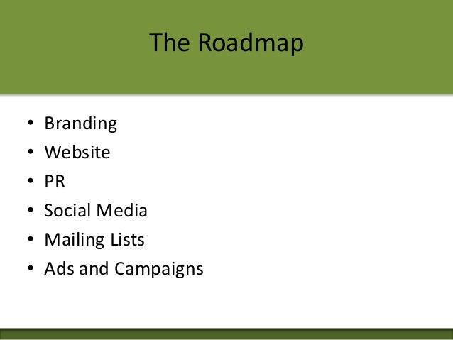 The Roadmap • Branding • Website • PR • Social Media • Mailing Lists • Ads and Campaigns