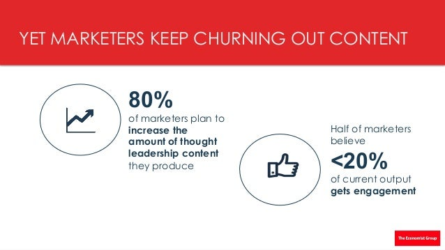 """8 © THEECONOMISTGROUPANDHILL+KNOWLTON STRATEGIES2016"""" YET MARKETERS KEEP CHURNING OUT CONTENT 80% of marketers plan..."""