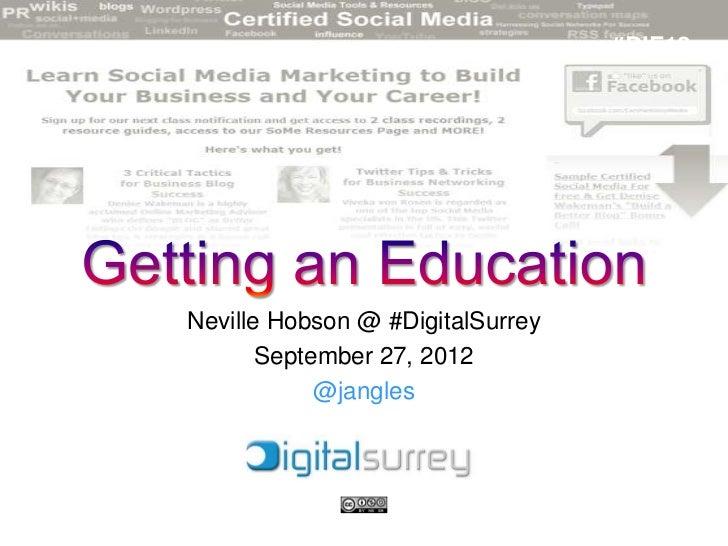 #DIF12Neville Hobson @ #DigitalSurrey       September 27, 2012            @jangles