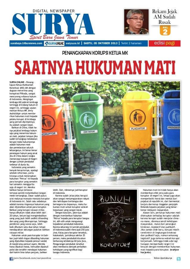 join facebook.com/suryaonline hal 2 DIGITAL NEWSPAPER edisipagisurabaya.tribunnews.com surya.co.id | SABTU, 05 OKTOBER 201...