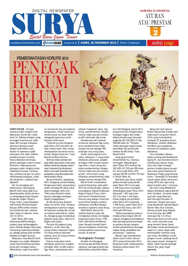 DIGITAL NE WS PA PER  nARKOBA Di inDOneSiA  ATURAN ATAU PRESTASI HAL  Spirit Baru Jawa Timur surabaya.tribunnews.com  sury...
