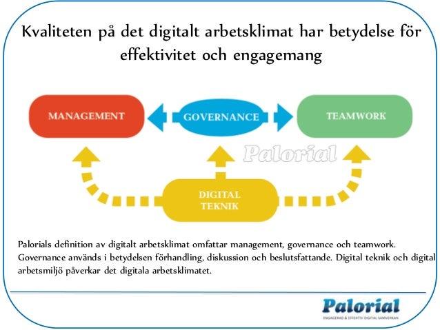 Kvaliteten på det digitalt arbetsklimat har betydelse för effektivitet och engagemang Palorials definition av digitalt arb...