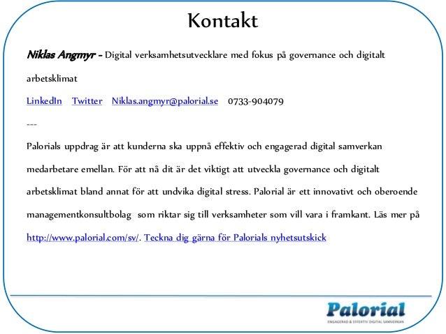 Niklas Angmyr - Digital verksamhetsutvecklare med fokus på governance och digitalt arbetsklimat LinkedIn Twitter Niklas.an...