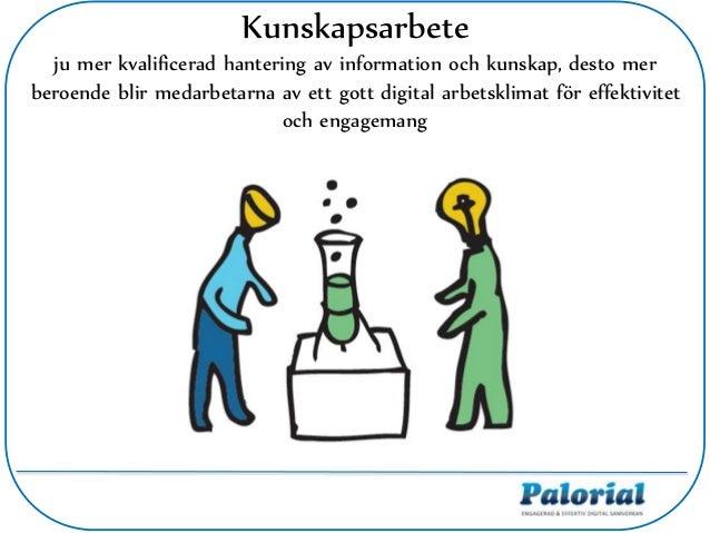 Kunskapsarbete ju mer kvalificerad hantering av information och kunskap, desto mer beroende blir medarbetarna av ett gott ...