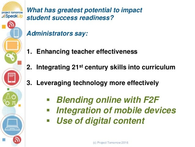 (c) Project Tomorrow 2016 What has greatest potential to impact student success readiness? Administrators say: 1. Enhancin...