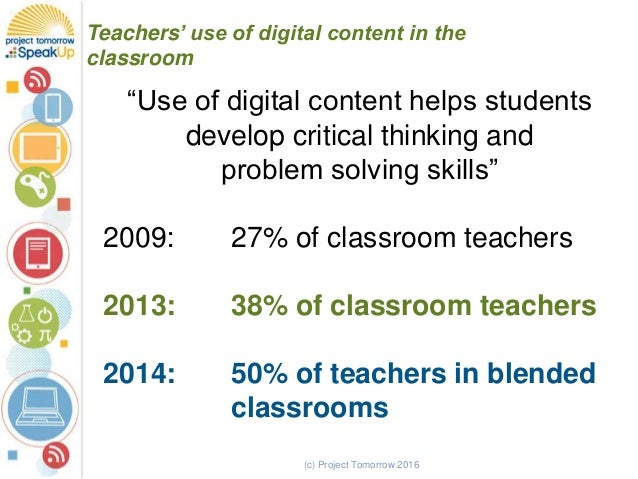 "(c) Project Tomorrow 2016 Teachers' use of digital content in the classroom ""Use of digital content helps students develop..."