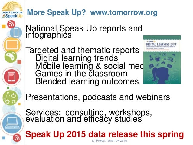 National Speak Up reports and infographics Targeted and thematic reports Digital learning trends Mobile learning & social ...