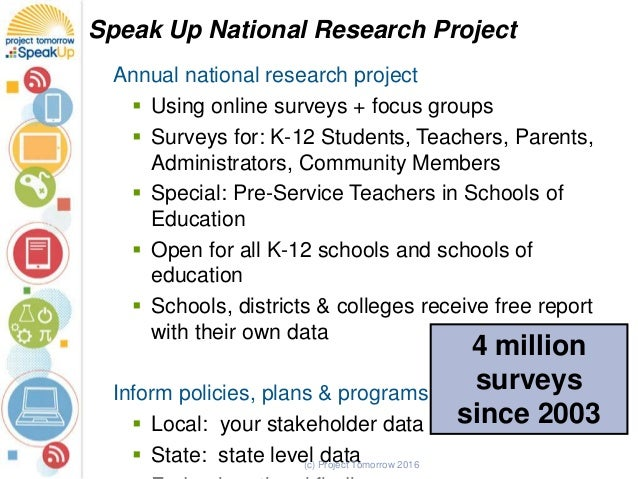 Annual national research project  Using online surveys + focus groups  Surveys for: K-12 Students, Teachers, Parents, Ad...