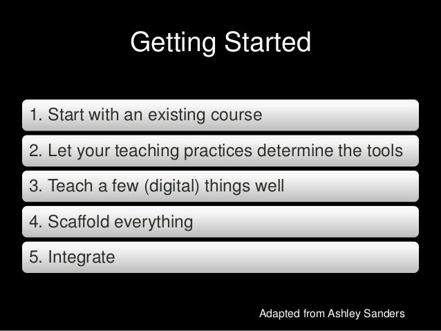 Getting Started 1. Start with an existing course 2. Let your teaching practices determine the tools 3. Teach a few (digita...