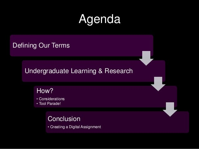 Agenda Defining Our Terms Undergraduate Learning & Research How? • Considerations • Tool Parade! Conclusion • Creating a D...