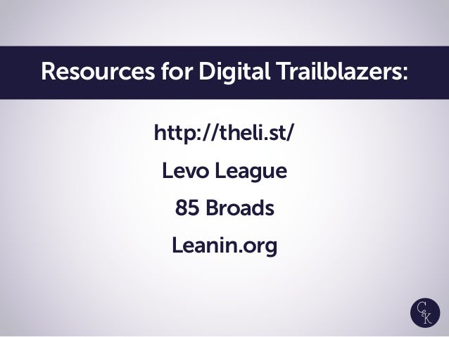 http://theli.st/ Levo League 85 Broads Leanin.org Resources for Digital Trailblazers: