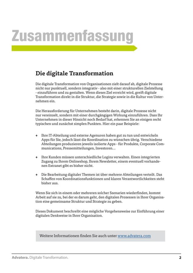 2  Zusammenfassung  Advatera. Digitale Transformation.  Digitale Transformation  Die digitale Transformation von Organisat...
