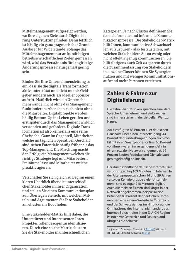 Advatera. Digitale Transformation. 4  Mittelmanagement aufgezeigt werden,  wo ihre eigenen Ziele durch Digitalisie-rung  U...