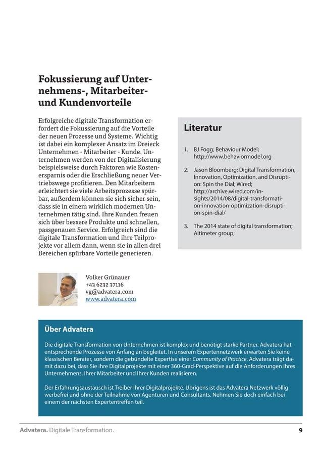 Advatera. Digitale Transformation. 9  Fokussierung auf Unter-nehmens-,  Mitarbeiter-und  Kundenvorteile  Erfolgreiche digi...