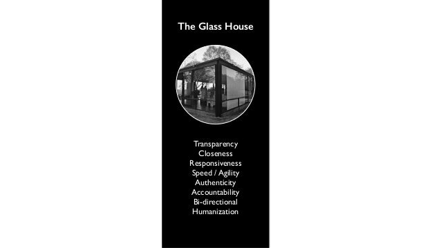 The Glass House  Transparency  Accountability  Proximity  Responsiveness  Bi-directional  Humanization  Authenticity