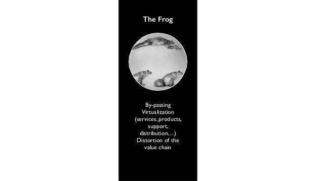 The Frog  By-passing  Virtualization  (services, products,  support,  distribution, ...)  Distortion of the  value chain