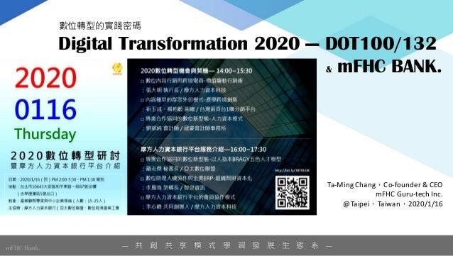 — 共 創 共 享 模 式 學 習 發 展 生 態 系 —mFHC Bank. Ta-Ming Chang,Co-founder & CEO mFHC Guru-tech Inc. @Taipei,Taiwan,2020/1/16 Digita...