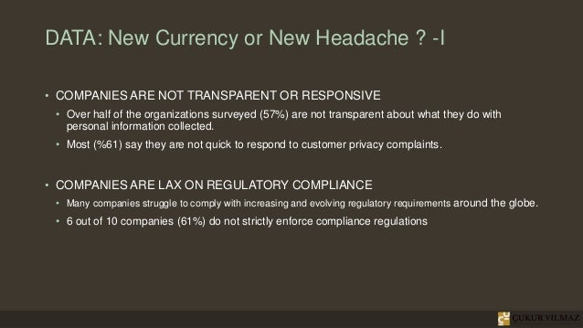 DATA: New Currency or New Headache ? -I • COMPANIES ARE NOT TRANSPARENT OR RESPONSIVE • Over half of the organizations sur...