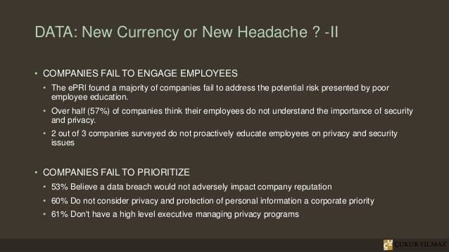 DATA: New Currency or New Headache ? -II • COMPANIES FAIL TO ENGAGE EMPLOYEES • The ePRl found a majority of companies fai...