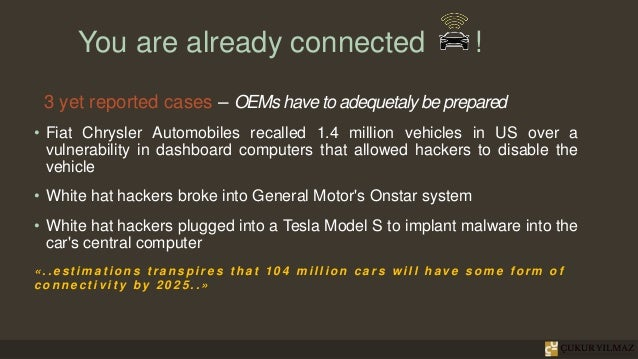 You are already connected ! 3 yet reported cases – OEMs have to adequetaly be prepared • Fiat Chrysler Automobiles recalle...