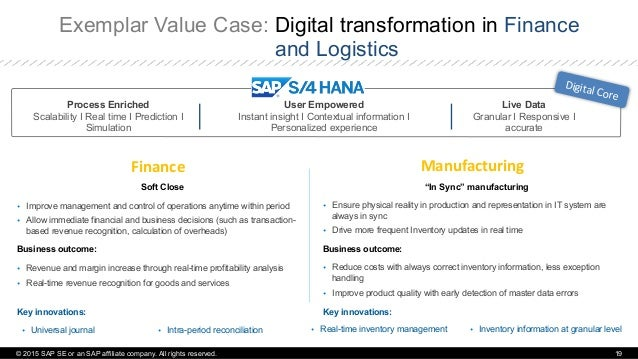 """Exemplar Value Case: Digital transformation in Finance and Logistics Manufacturing   """"In Sync"""" manufacturing Ÿ Ensure ..."""