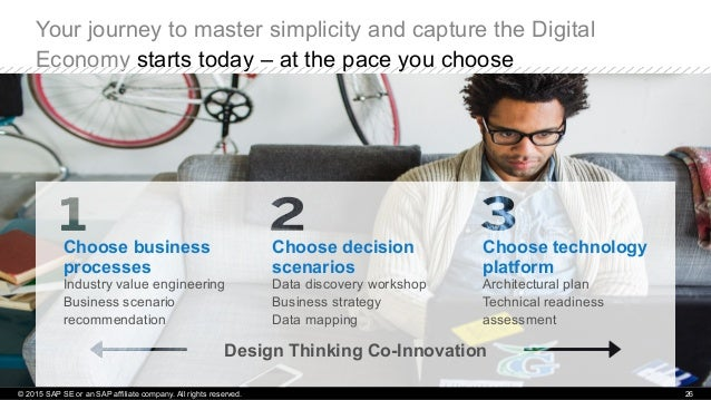Your journey to master simplicity and capture the Digital Economy starts today – at the pace you choose © 2015 SAP SE or a...