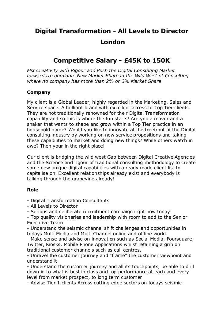 digital transformation consultants jobs london