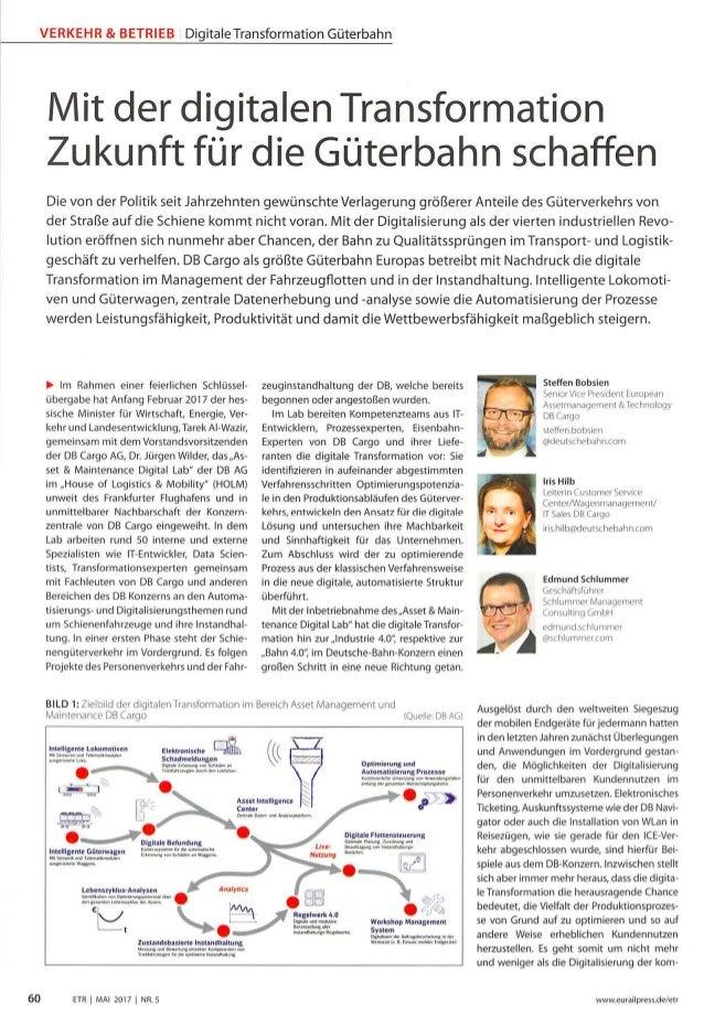 VERKEHR & BETRIEB DigitaleTransformation Güterbahn Mit der digitalen Transformation Zukunft für die Güterbahn schaffen 60 ...