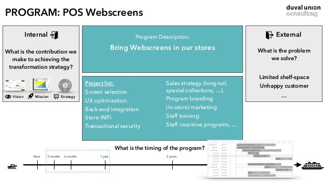 POS Webscreens / Screens, UX, back-end CAPEX OPEX PROJECT OWNER: CIO What is the timing of the project? • IT • web-partner...