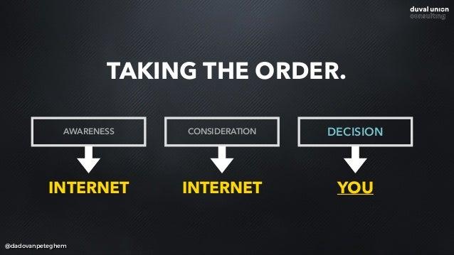 @dadovanpeteghem TAKING THE ORDER. AWARENESS CONSIDERATION DECISION INTERNET INTERNET YOU