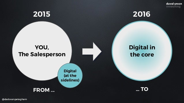 FROM ... ... TO YOU, The Salesperson Digital  (at the sidelines) Digital in the core 2015 2016 @dadovanpeteghem
