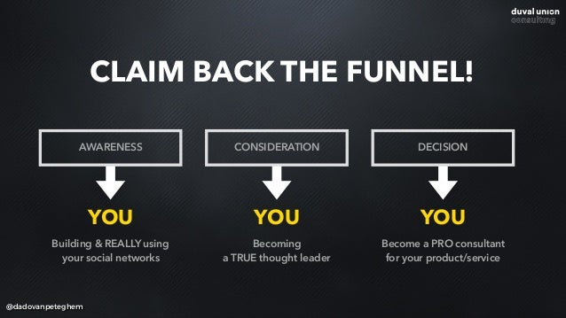 @dadovanpeteghem CLAIM BACK THE FUNNEL! AWARENESS CONSIDERATION DECISION YOU YOU YOU Building & REALLY using your social n...