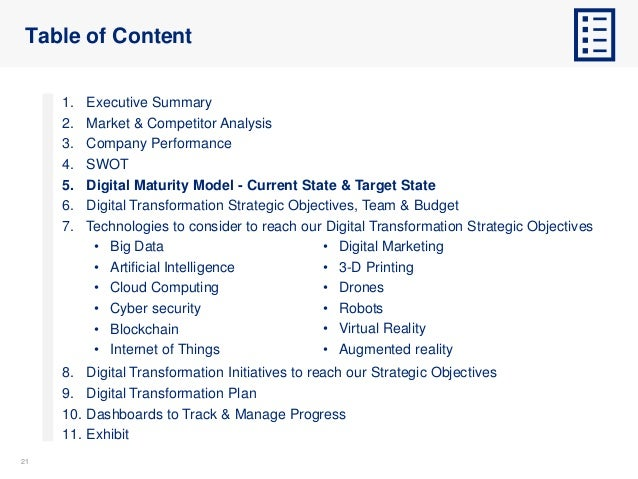 2121 Table of Content 1. Executive Summary 2. Market & Competitor Analysis 3. Company Performance 4. SWOT 5. Digital Matur...