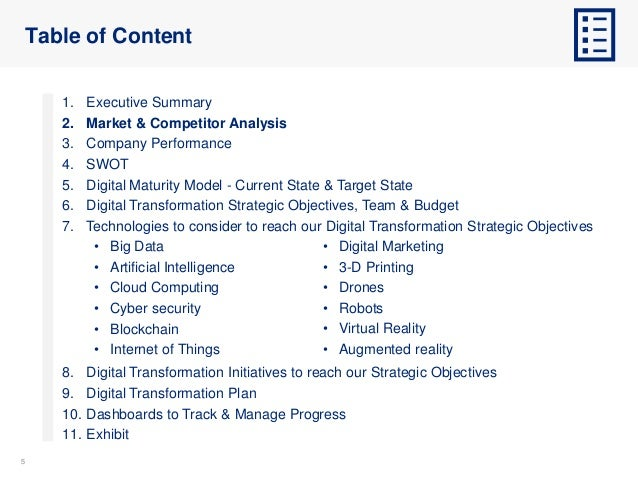 55 Table of Content 1. Executive Summary 2. Market & Competitor Analysis 3. Company Performance 4. SWOT 5. Digital Maturit...