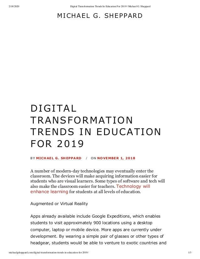 2/18/2020 Digital Transformation Trends In Education For 2019 | Michael G. Sheppard michaelgsheppard.com/digital-transform...