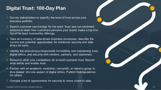 Digital Trust: 100-Day Plan 10Copyright © 2016 Accenture. All rights reserved. 1. Survey stakeholders to quan...
