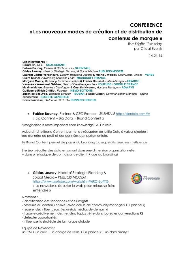 CONFERENCE « Les nouveaux modes de création et de distribution de contenus de marque » The Digital Tuesday par Cristal Eve...